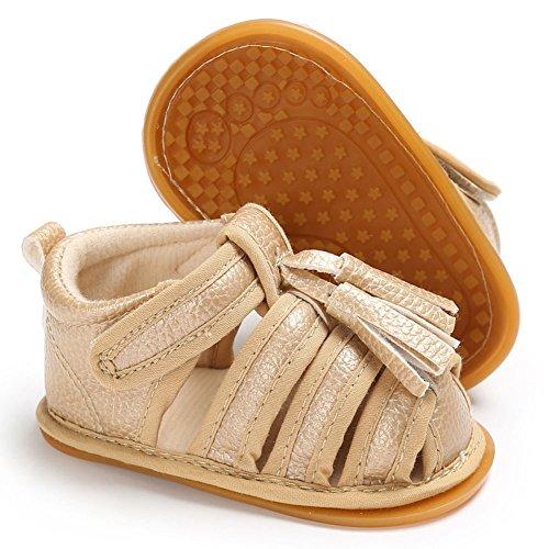 hibote Bebé recién nacido Niñas borlas de cuero suave antideslizante Sandalias Prewalker zapatos Black 12-18M oro