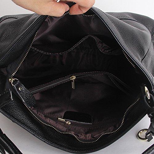 fashion main femme LF Sac à épaule portés bandoulière Sac Valin cuir portés main en Sac 6024 Noir Sac xXfgIAqwH