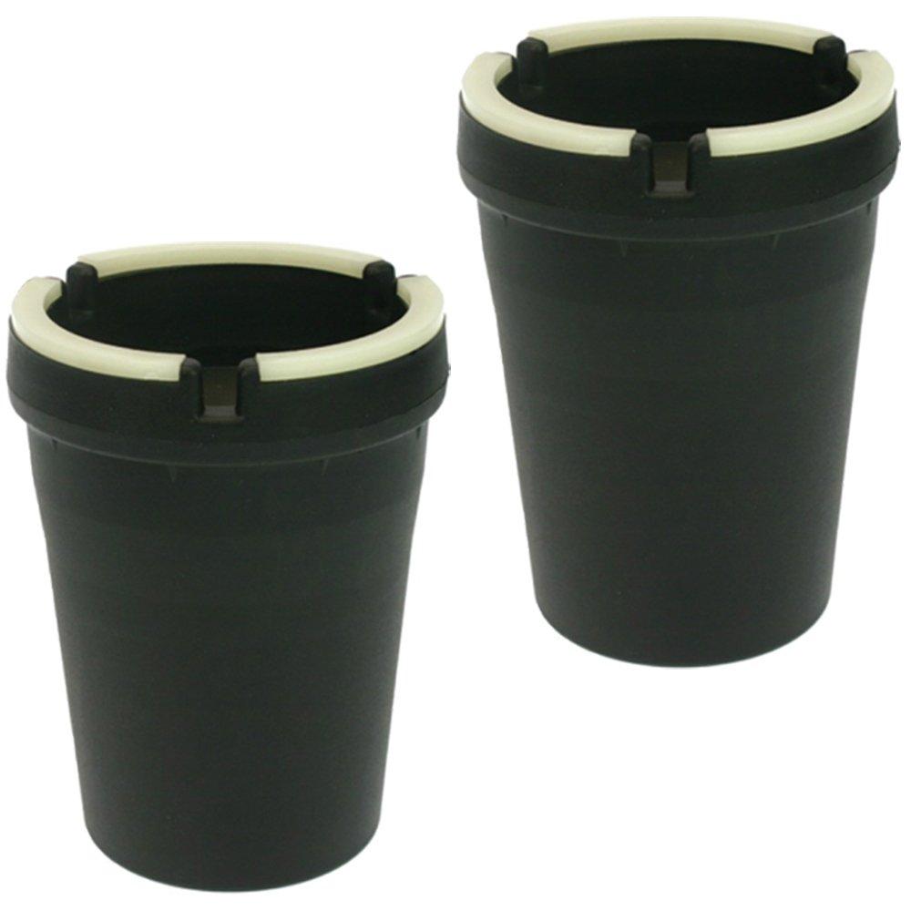 Lot de 2 cendriers anti-odeur, cendriers qui brillent dans le noir, avec bords fluorescents OW