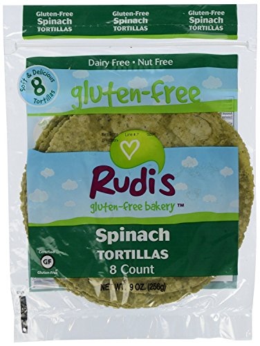 Rudis Gluten Free Bakery Rudi Tortillas Spinach Gf 9 Oz, Pack of 24 by Rudis Gluten Free Bakery