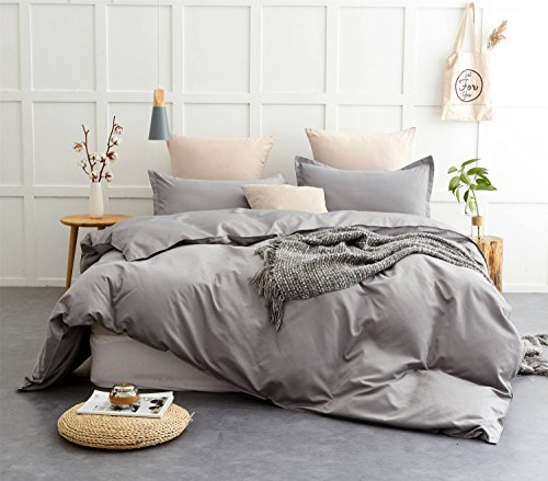 Queen Duvet Cover Set Grey with Zipper Closure 3 Pieces Reversible Soft Microfiber Bedding Sets