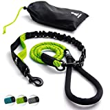 FLASH SALE | Heavy Duty Rope Leash for Large and Medium Dogs with Anti-pull Bungee for Shock Absorption - No Slip Reflective Leash for Outside – Suitable for Dog Training and Walking - Green