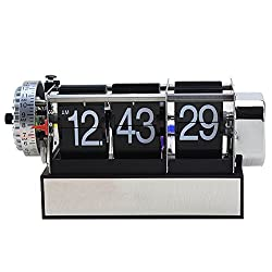 FunnyToday365 Antique Retro Style Digital Dynamic With Alarm Clock Gift Desk Table Gear Operated Auto Flip Clock