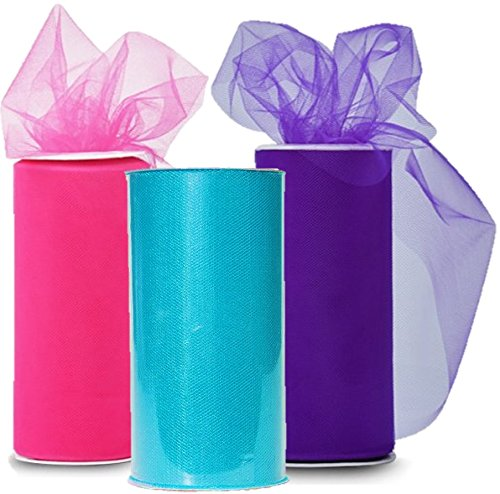 Classic Tulle Rolls Spool - Three Spools of Tulle Fabric on 3 Beautiful colors Turquoise, Pink and Purple - 25-Yard each