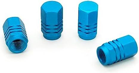 blu Set di 4 tappi in alluminio per valvole di pneumatici da bici//moto//auto colore