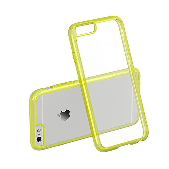 pretty nice f0239 ff98e iPhone 6s Case Yellow LUVVITT [Clearview] Hybrid Scratch Resistant Back  Cover with Shock Absorbing Bumper for Apple iPhone 6/6s (4.7) - Neon Yellow