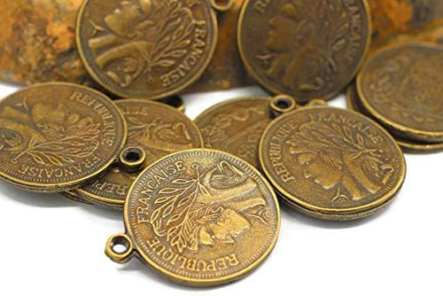 29x35mm Antique Bronze Replica Coin Pendant, Vintage French Coins, double side charms, Gold Pendant, Bronze coin charms, Roman Pendants, Medallion Pendant, Coins, Bronze Coins - Modern Gold Plated Setting Pendants