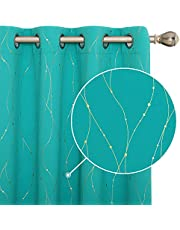 Deconovo Blackout Curtains Golden Wave Line with Dots Printed Grommet Curtain Panels for Living Room 52 x 72 Inch Turquoise 2 Panels