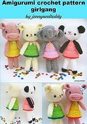 Amigurumi girlgang crochet pattern,panda,hippo,elephant,bear (English Edition)