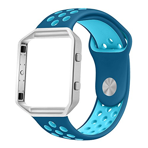 UMTELE Soft Silicone Replacement Strap Silver Frame Compatible Fitbit Blaze Smart Fitness Watch, Large, BlueOrbit/GammaBlue