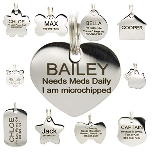 Stainless Steel Pet ID Tags - Engraved Personalized Dog Tags, Cat Tags Front & Back up to 8 Lines of Text - Bone, Round, Heart, Flower, Badge, House, Star, Rectangle, Bow Tie ()