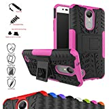 Mama Mouth Shockproof Heavy Duty Combo Hybrid Rugged Dual Layer Grip Cover with Kickstand For LG K8 2017 /LG K4 2017 /LG X300 /LG M200N /MS210 /LV3 (5.0') Smartphone,Pink