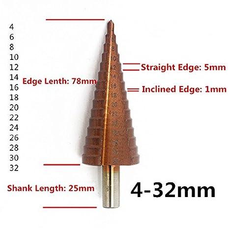 Vakki fraise conique /à double fente HSS 5mm-35mm argent avec rev/êtement titane Foret /étag/é