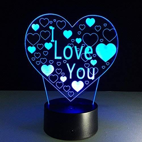 PIXNOR 3D Illusion Lamp I Love U Heart Night Light 7 Colors Changing Decorative Desk Lamp Romantic Gift for Lover Wife Boyfriend or Girlfriend