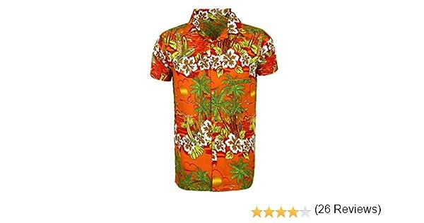 SAITARK - Camisa casual - Floral - para hombre ORANGE SUN Large: Amazon.es: Ropa y accesorios