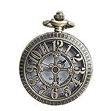 VIGOROSO Skeleton Arabic Numerals Necklace Pendant Vintage Antique Steampunk Quartz Pocket Watch in Box