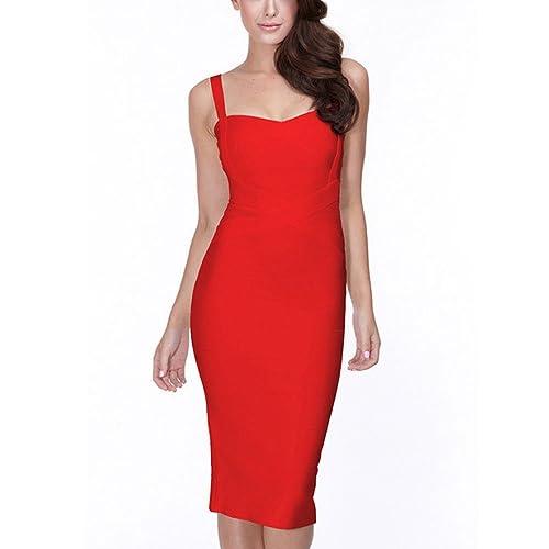 HLBandage Midi-Calf Solid Color Spaghetti Strap Rayon Bandage Dress