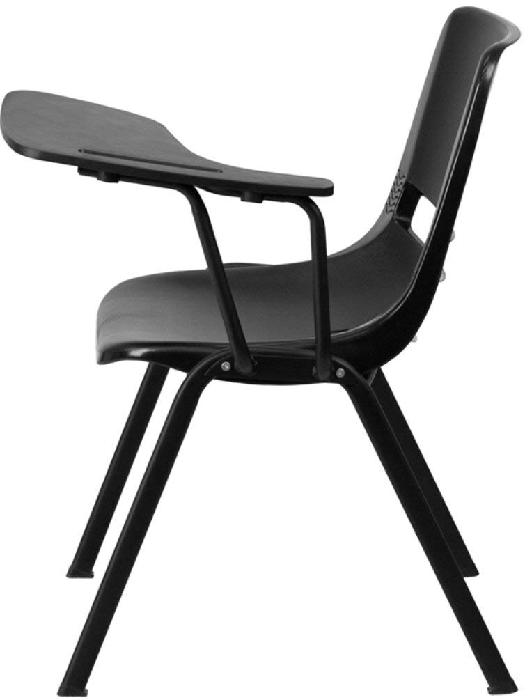 Flash Furniture Black Ergonomic Shell Chair with Left Handed Flip-Up Tablet Arm by Flash Furniture