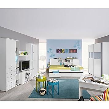 Komplett Jugendzimmer Kleiderschrank Wohnwand Schreibtisch Bett
