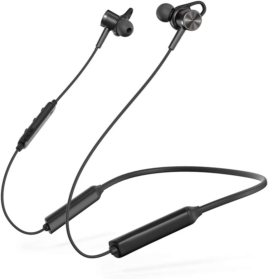 black TaoTronics earbuds, connected with neck wire