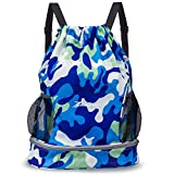 YOULERBU Gym Drawstring Bag, Sports Backpack With Shoe Compartment, Swim Bag With Wet Dry Compartments for Women Men