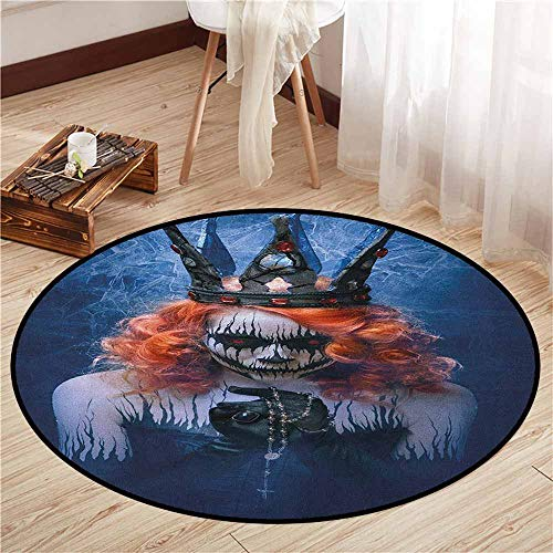 Skid-Resistant Rugs,Queen,Queen of Death Scary Body Art Halloween Evil Face Bizarre Make Up Zombie,Ideal Gift for Children,4'3