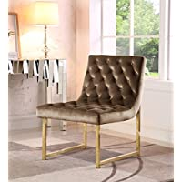 Iconic Home Moriah Accent Chair Sleek Elegant Tufted Velvet Upholstery Plush Cushion Brass Finished Polished Metal Frame, Contemporary Modern, Taupe
