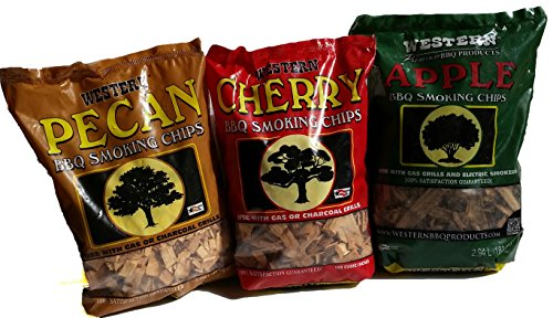 (Ultimate Western BBQ Smoking Wood Chips Variety Pack Bundle (3)- Apple, Pecan, and Cherry)