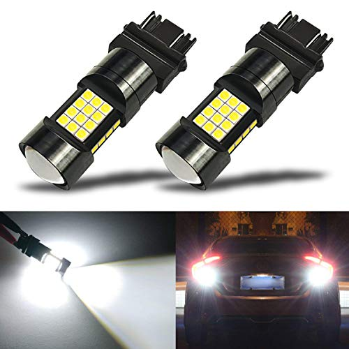 (iBrightstar Newest Extremely Bright 36-SMD 3030 Chipsets 3156 3157 3057 4157 LED Bulbs with Projector Lens replacement for Back Up Reverse Parking Daytime Running Lights, Xenon White)