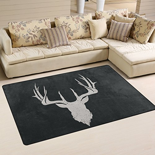 Yochoice Non-slip Area Rugs Home Decor, Vintage Retro Deer Head Invert Floor Mat Living Room Bedroom Carpets Doormats 60 x 39 inches (Welcome Deer)