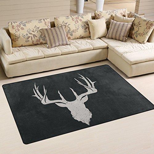 Yochoice Non-slip Area Rugs Home Decor, Vintage Retro Deer Head Invert Floor Mat Living Room Bedroom Carpets Doormats 60 x 39 inches