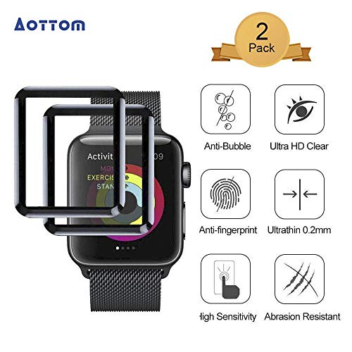 [2 Pack] Screen Protector for iWatch 42mm Aottom [3D Curved Edges Full Coverage] Apple Watch Screen Protector Protection Carbon Fiber Frame Edge Tempered Glass Film for 42mm Apple Watch Series 3/2/1 - Protection Fibre
