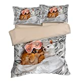 Fantastic Eye Mask Puppy and White Dog Cotton Microfiber 3pc 80''x90'' Bedding Quilt Duvet Cover Sets 2 Pillow Cases Full Size
