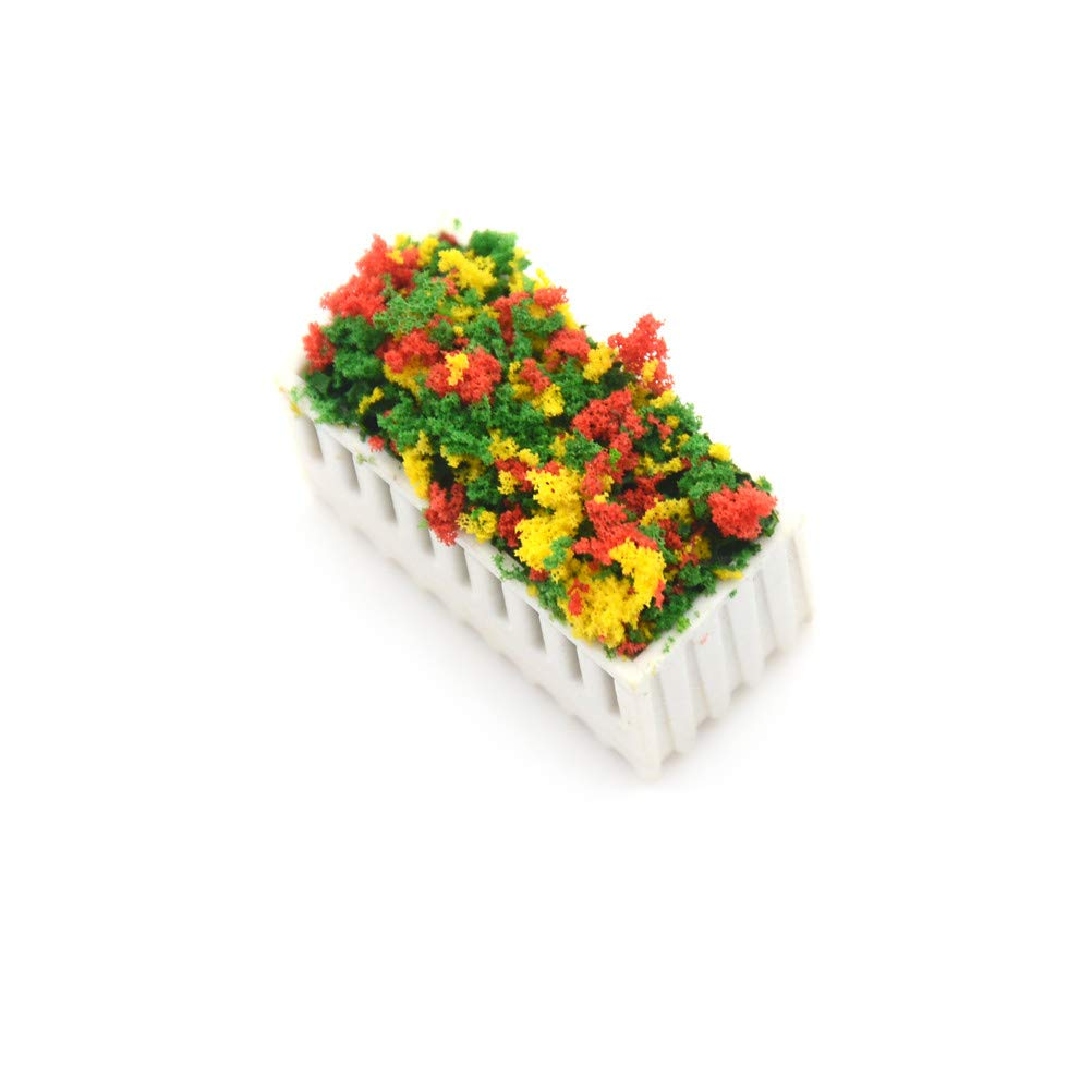 AOWA 2Pcs Flower Beds Plants Miniature Landscape Fairy Garden Decor Dollhouse Accessories