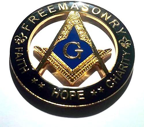 Masonic  Metal Chrome Silver  Auto Cut Out Car Emblem  Freemasonry Mason  symbol