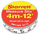 Starrett Measure Stix SM412ME Steel White Measure Tape with Adhesive Backing, English/Metric Graduation Style, Left To Right Reading, 12' (3.65m) Length, 0.5'' (13mm) Width, 0.0625'' Graduation Interval