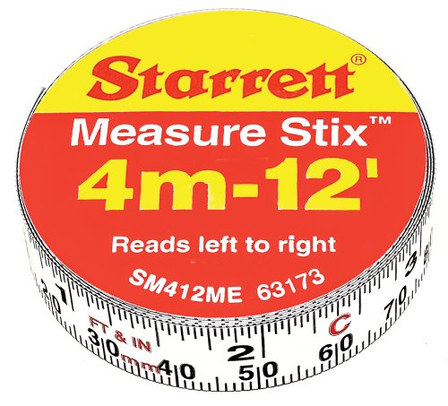Measure Stix - Starrett Measure Stix SM412ME Steel White Measure Tape with Adhesive Backing, English/Metric Graduation Style, Left To Right Reading, 12' (3.65m) Length, 0.5