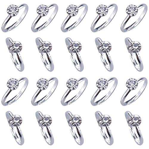 (Topoox 80 Pack Bridal Shower Rings Silver Diamond Engagement Rings for Wedding Table Decorations, Party Games, Cupcake Toppers)