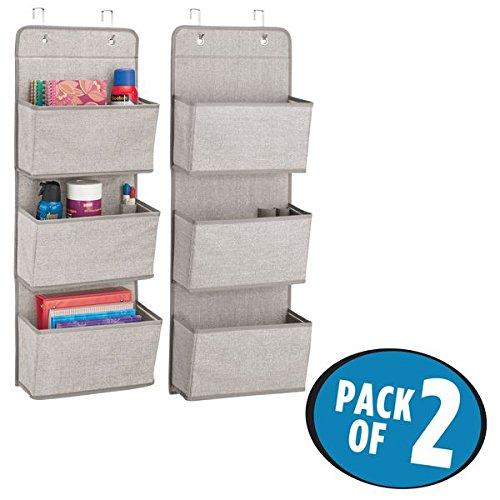 mDesign Over the Door Fabric Office Supplies Storage Organizer for Notebooks, Planners, File Folders – Pack of 2, 3 Pockets Each, Linen