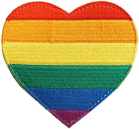 [ ワッペン屋Dongri ] ベルクロ ワッペン パッチ LGBT支援 レインボーフラッグ ハート型 A0615
