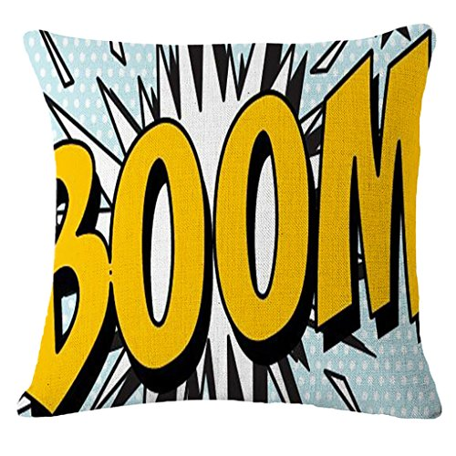 18 X 18 Inch Pop Art Comic Cotton Linen Decorative Throw Pillow Cover Pillowcase(31) (Shop Pillows Throw)