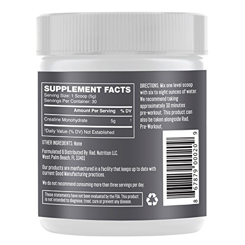 Rad. Micronized Creatine Monohydrate Powder Unflavored | For Strength, Energy & Lean Muscle Mass | All Natural - Zero Artificial Sweeteners, Colors or Flavors