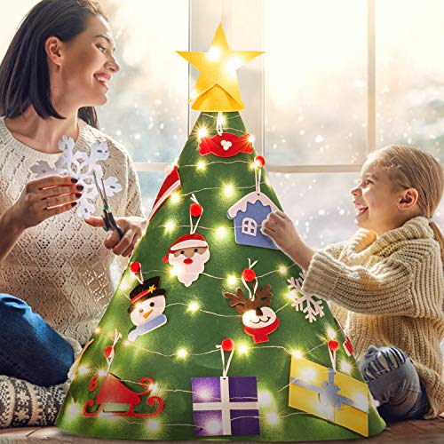 Legendog 3D DIY Felt Christmas Tree Set with 18Pcs Xmas Hanging Ornaments, Xmas Gifts for Kids New Year Christmas Decorations Toddlers Gifts -