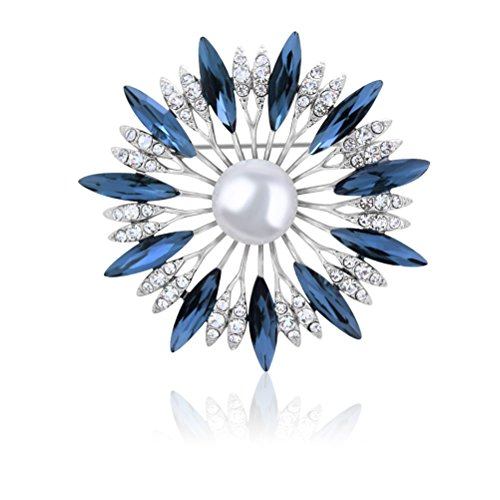 TAGOO Sunflower Design Brooches Pins Scarf Clips Corsages Crystal for Wedding/Banquet/Leisure Dailywear Women&Girls Silver Tone (Sunflower) (Crystal Brooch Sunflower)