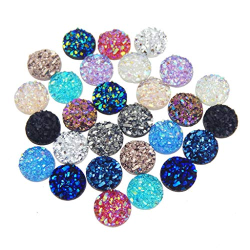 120 Pieces 12 Colors Round Flat Back Resin Cabochon Cameo Faux Druzy Cabochons for Jewelry Making (12mm)
