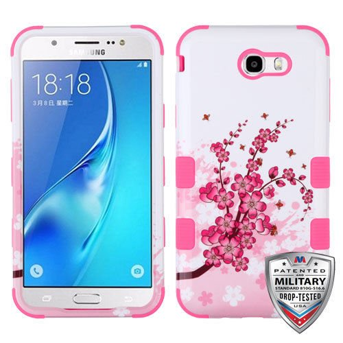 Wydan Case for Samsung Galaxy J7 Prime, J7 V, J7 Perx, J7 Sky Pro, Halo - Tuff Hybrid Shockproof Case Protective Heavy Duty Phone Cover - Cherry Blossom (Cherry Cover Phone)