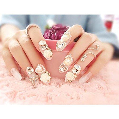 Dongcrystal 24pc 3D False Nails Bling Glitter Fake Full Nail Tip White Flower Rhinestone Decor Pearl Nail Art