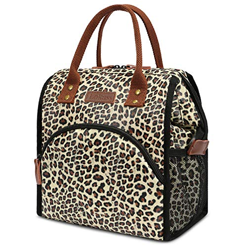 - LOKASS Lunch Bag Insulated Lunch Box Wide-Open Lunch Tote Bag Large Drinks Holder Durable PU Leather Snacks Organizer for Women Men Adults College Work Outdoor Activies,Leopard Print