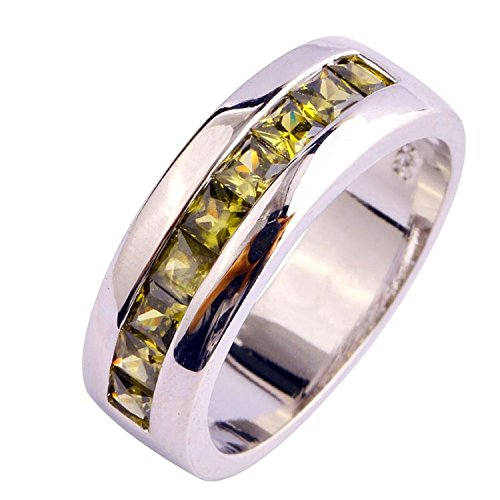 - Psiroy Women's 925 Sterling Silver Created Peridot Wide Band Engagement Filled Ring Size 7