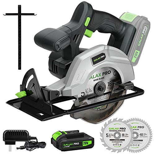GALAX PRO DC-20V 5-1/2″ Cordless Circular Saw with 2Pcs Blades (18T+48T), 3800RPM Variable Speed, Includes 2.0Ah Lithium Battery and Fast Charger, Max Cutting Depth 1-5/8″(90°), 1-7/16″(45°)